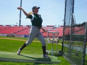 Justine Siegal coaches men's baseball