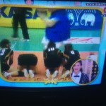 Thai women's volleyball team wai (bow) after victory -- as caught on TV